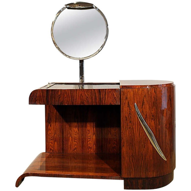 1930s Art Deco Vanity, Rio rosewood, Swiveling Luminescent Mirror, France For Sale