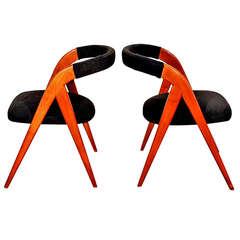 1950s Pair of Bridge Chairs, Compass Shape Feet, Cherrywood, Felt, Italy