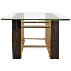1930´s Art Deco Coffee Table, maple, Macassar ebony, brass, glass - Italy