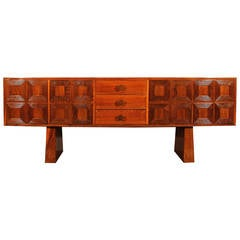 1940s Cubist Sideboard, Solid Oak and Veneer, Panels, Trapezoid Feet, Italy