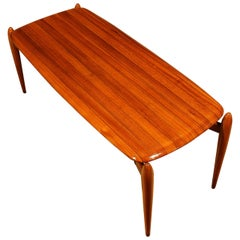 1950s Coffee Table, solid teak with ebony strips, iron, brass hardware - Italy