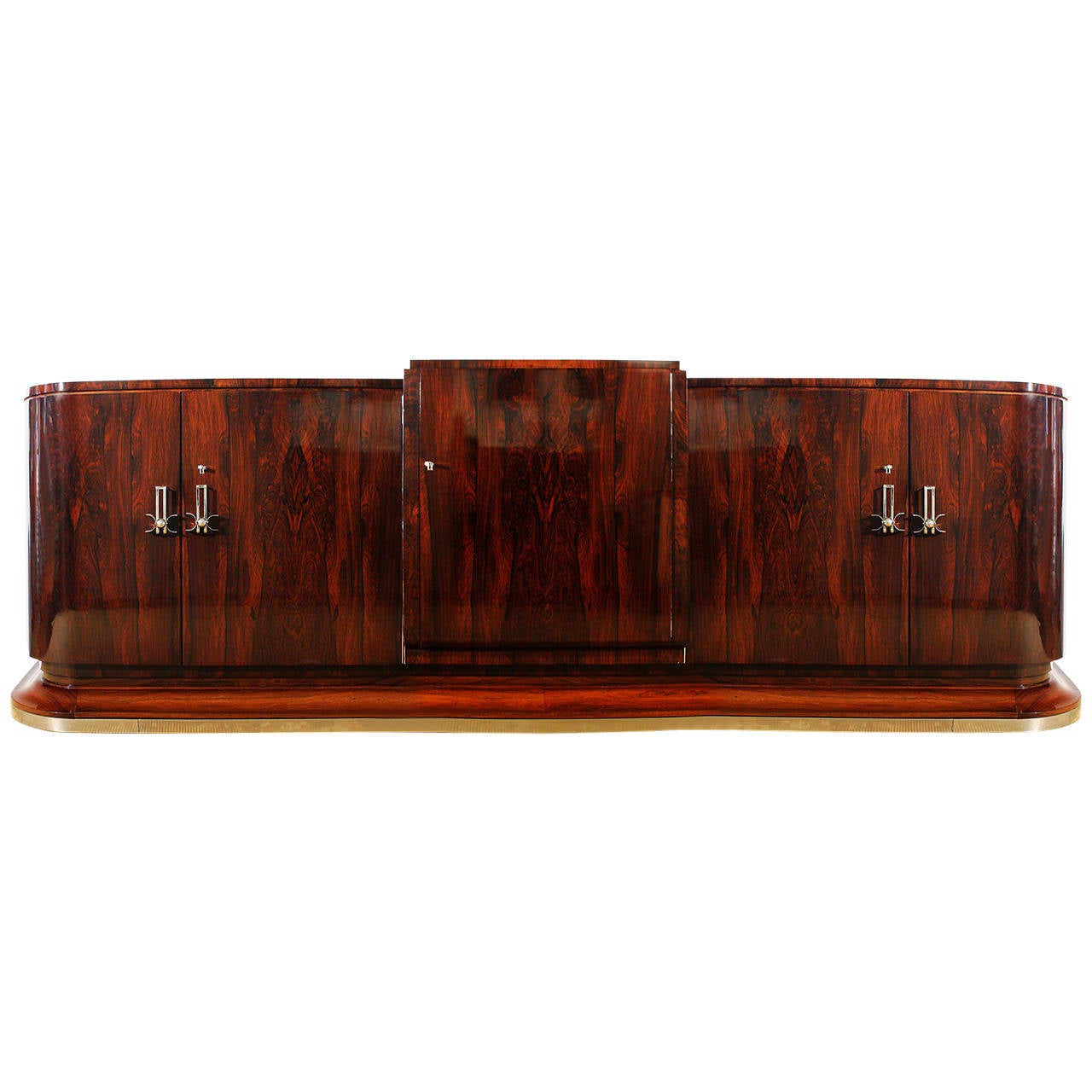 1930s Art Deco sideboard in the style of Jules Leleu, Rio rosewood - France