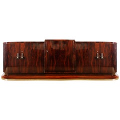 1930s Art Deco Sideboard in the Style of Jules Leleu, Mahogany, France
