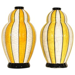 1930s Charles Catteau, Boch Keramis - Two Art Deco vases, ceramic - Belgium
