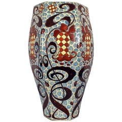 Ceramic Vase with Floral Design