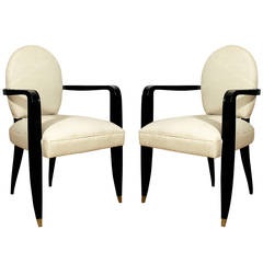 1940s Pair of Bridge Armchairs, stained beech, brass, cotton upholstery - France