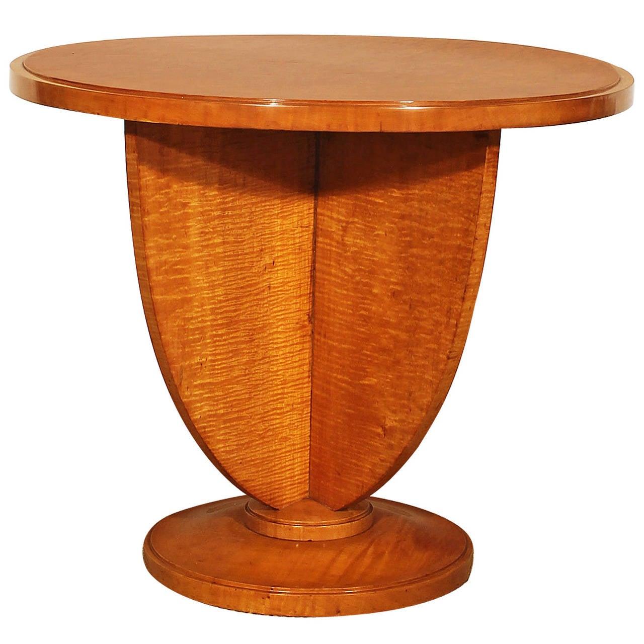 1925 art deco round sidetable birdseye maple veneer for Deco francaise