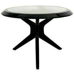 1930´s Art Deco Round Side Table, dark stained wood, glass - Czechoslovakia