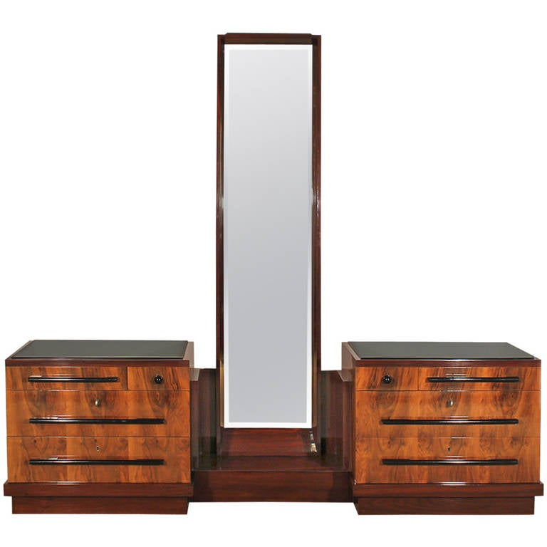 1930s Art Deco Double Chest of Drawers, Mirror, Walnut, Mahogany, Italy