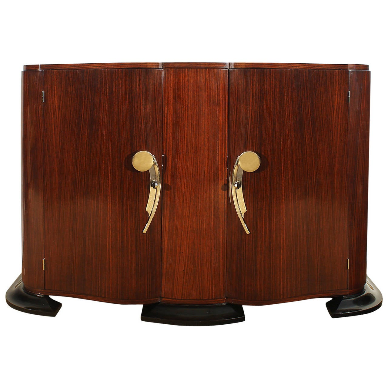 1940s Small Rounded Sideboard, mahogany, rosewood, bronze - France
