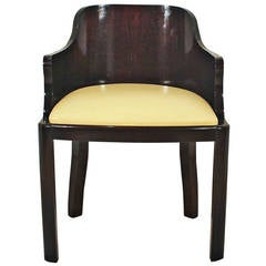 1930´s Art Deco Desk Chair in Solid Oak, leather - Belgium