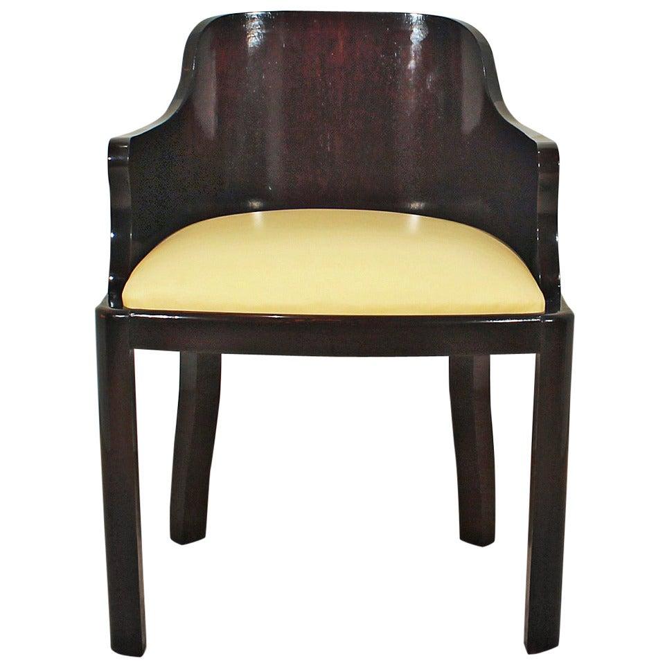 1930´s Art Deco Desk Chair in Solid Oak, leather - Belgium
