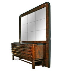 1930s Art Deco Sideboard in the Style of Bruno Paul, Walnut, Czechoslovakia