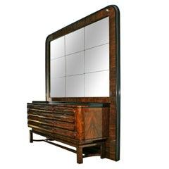 1930s Art Deco Sideboard in the Style of Bruno Paul, Walnut, Czechoslovakia