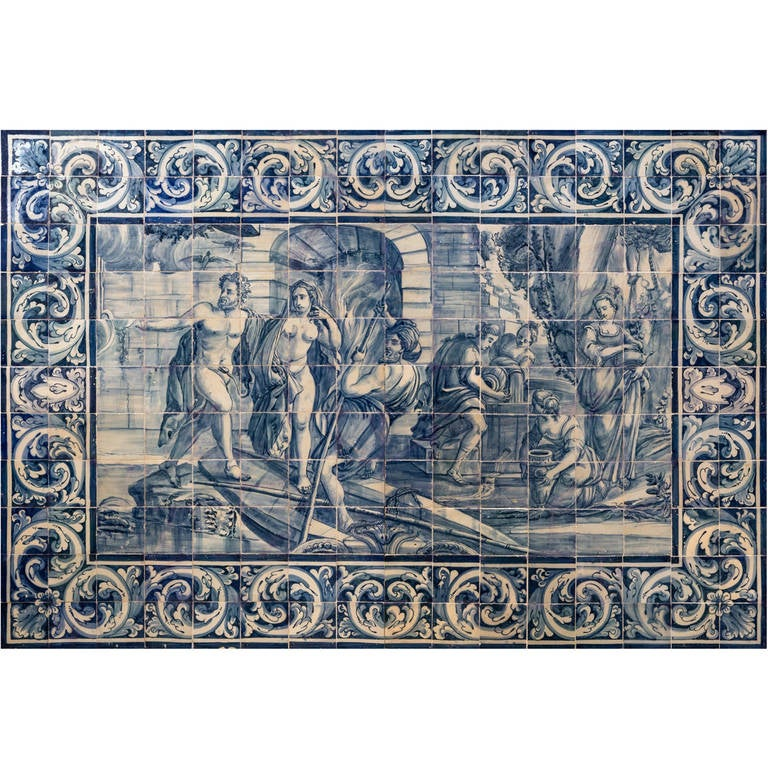 Th Century Portuguese Blue On White Tile Panel Works Of Hercules - Blue and white tiles for sale