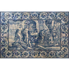 18th Century Portuguese Blue on White Tile Panel, Works of Hercules