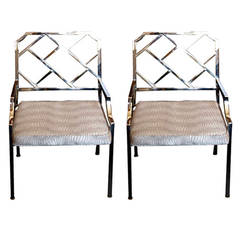 6 Milo Baughman Chrome Chippendale Dining Chairs
