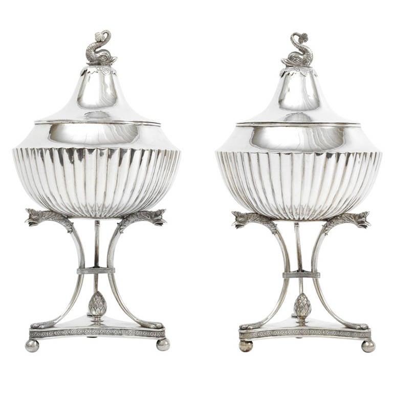 19th Century Pair of Swedish Silver Bowls