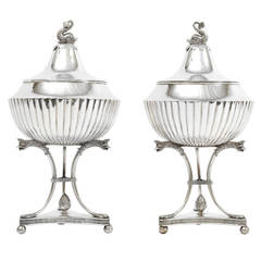 19th Century Pair of Swedish Silver Bowls