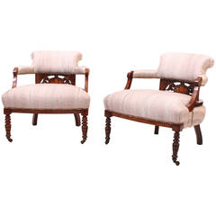 19th Century Pair of Rosewood Tub Chairs