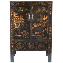 19th Century Chinese Gilt Lacquered Cabinet with Two Doors