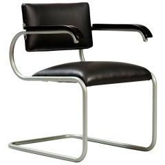 Black Leather Modernist Tubular Desk Chair