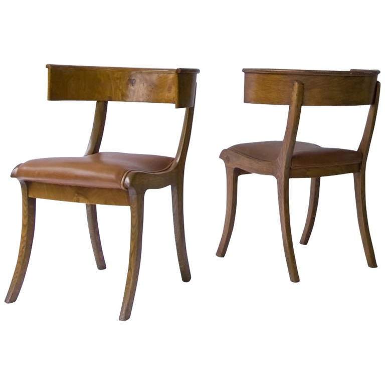 Pair of Klismos Chairs For Sale at 1stdibs