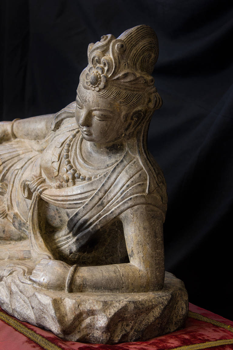 Large stone sculpture of the bodhisattva guanyin