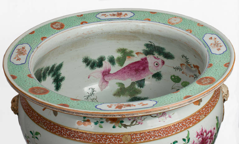 Very large chinese porcelain fish bowl with polychrome for Restaurants with fish bowl drinks near me