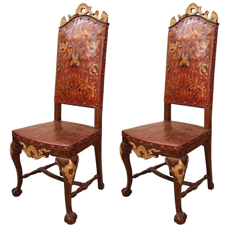 Pair Of 18th Century Portuguese Leather Chairs At 1stdibs