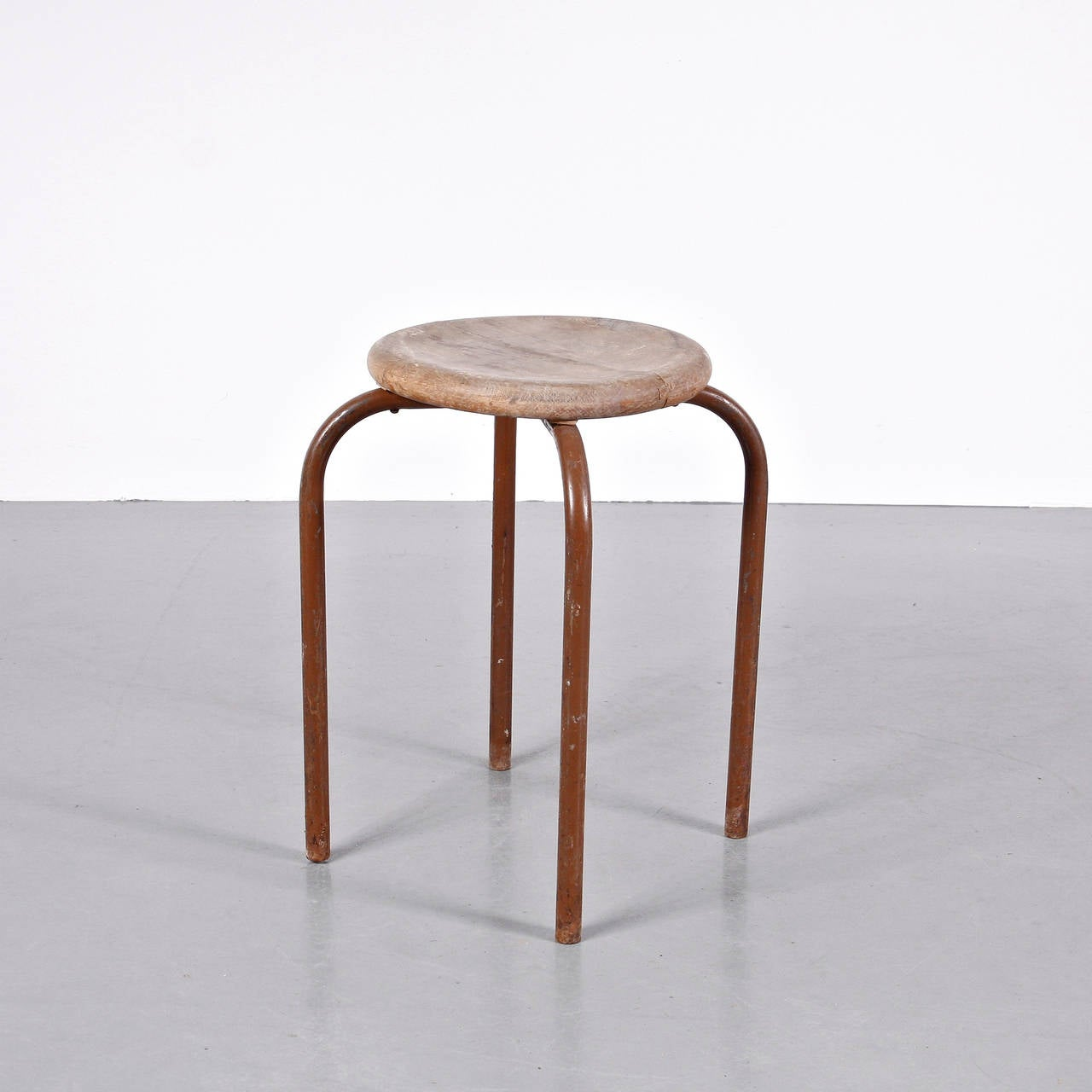 Industrial Stool In The Manner Of Jean Prouv 233 Stool Circa