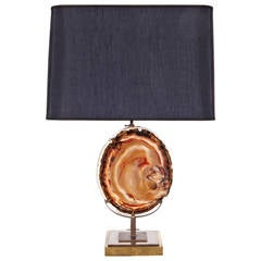 Agate Table Lamp in the Manner of Willy Daro, circa 1970