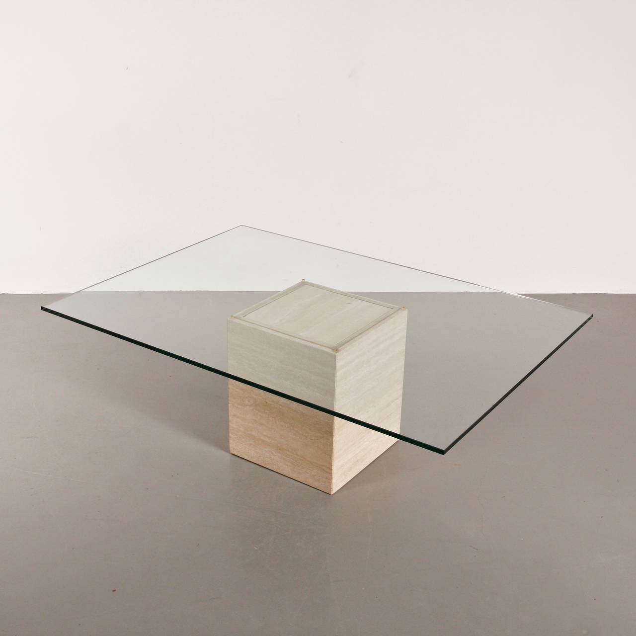 Glass and travertine coffee table by roger vanhevel belgium for glass and travertine coffee table by roger vanhevel belgium 3 geotapseo Image collections