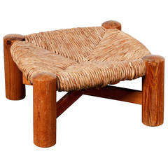 Wicker Stool in the Manner of Charlotte Perriand