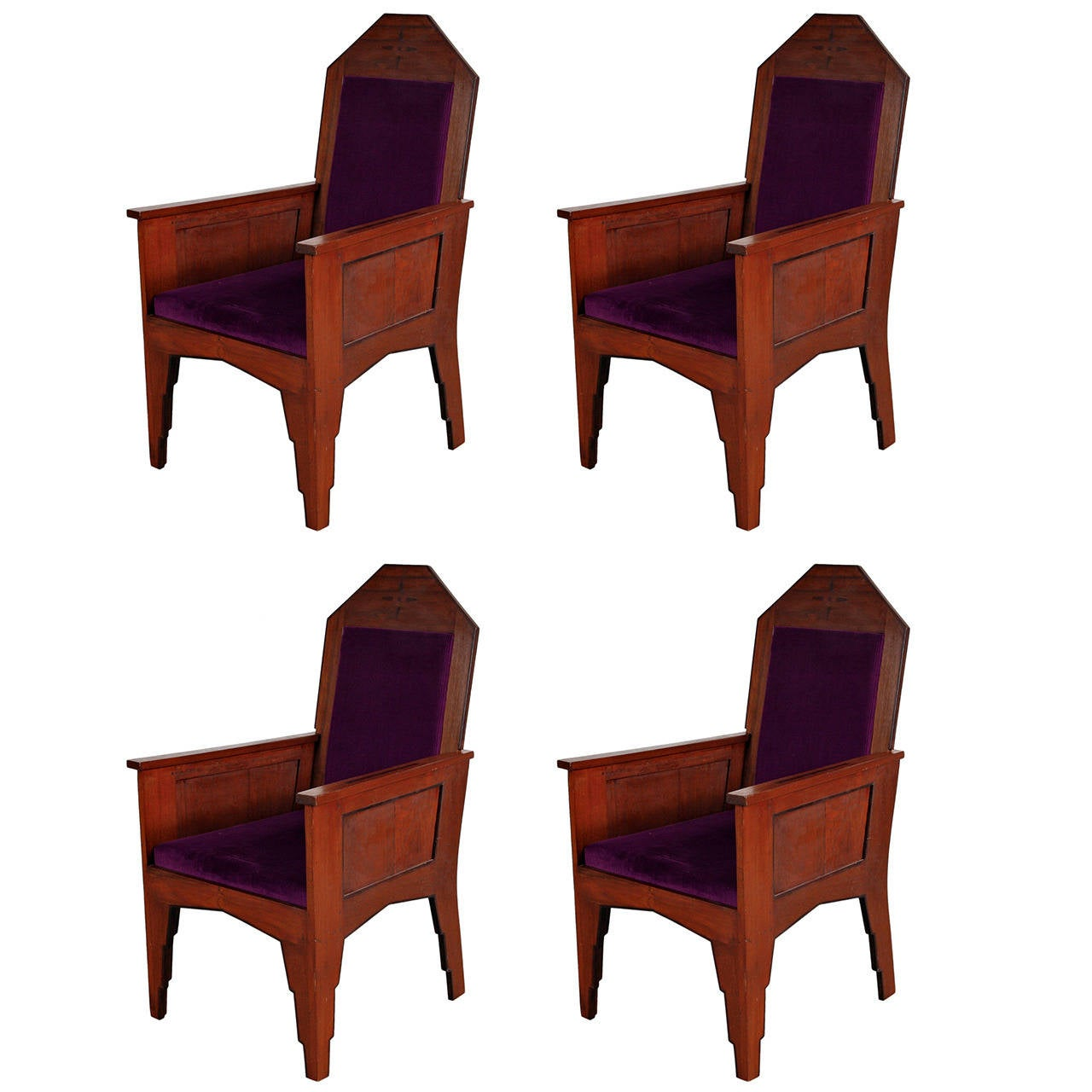 Set of Four Amsterdamse School Easy Chairs, circa 1920