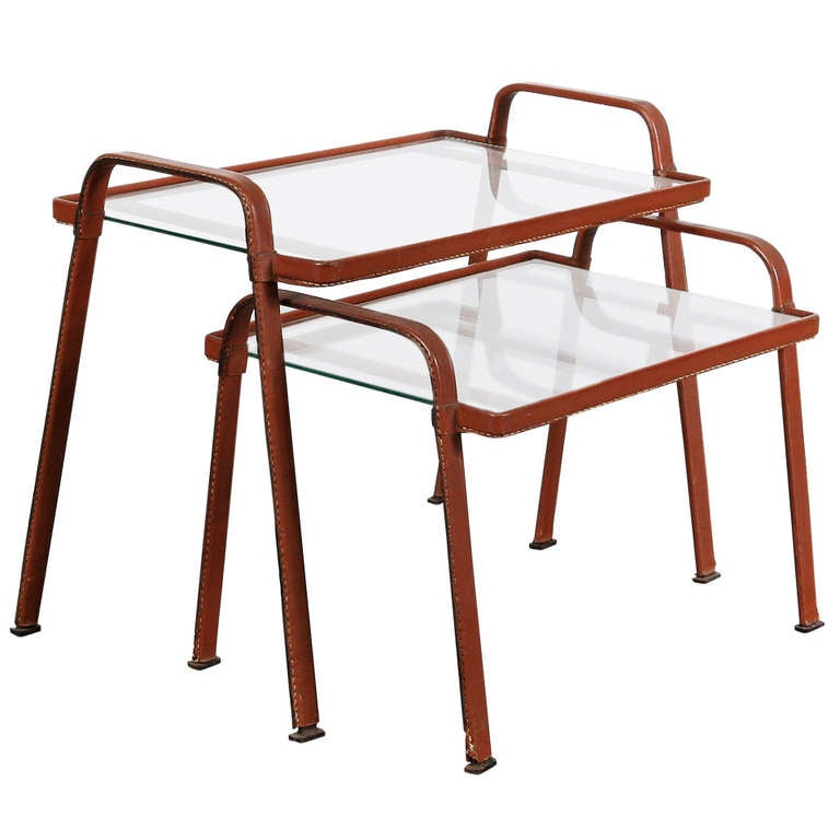 Jacques Adnet Pair Of Nesting Tables At 1stdibs