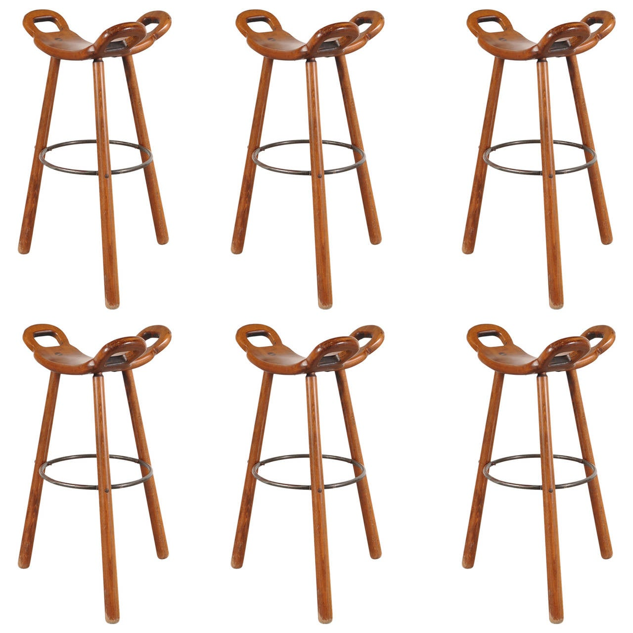 Set Of Six Spanish Brutalist Quot Marbella Quot Bar Stools Circa