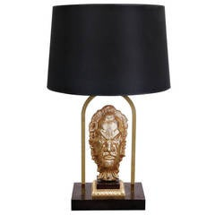 French Messing Table Lamp in the style of Maison Jansen, circa 1970