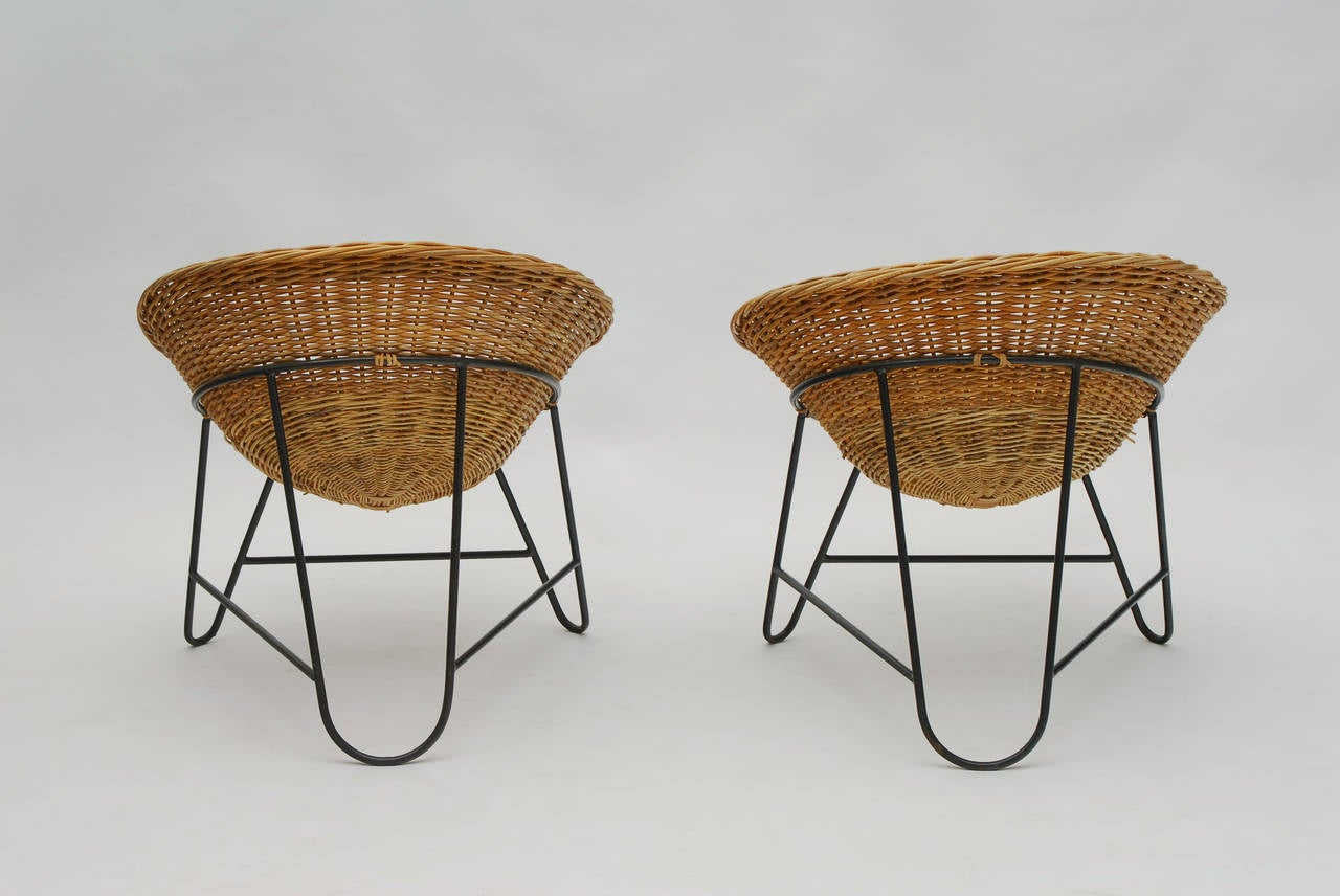 Set of Two French Wicker Chairs circa 1950 For Sale at 1stdibs