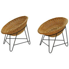 Set of Two French Wicker Chairs, circa 1950