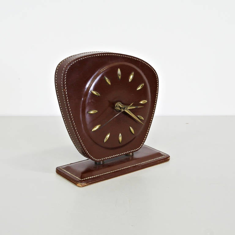 French Jacques Adnet Leather Table Clock, circa 1950 For Sale
