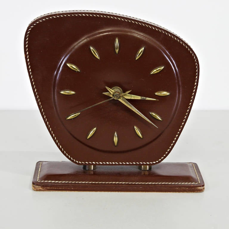 Mid-20th Century Jacques Adnet Leather Table Clock, circa 1950 For Sale