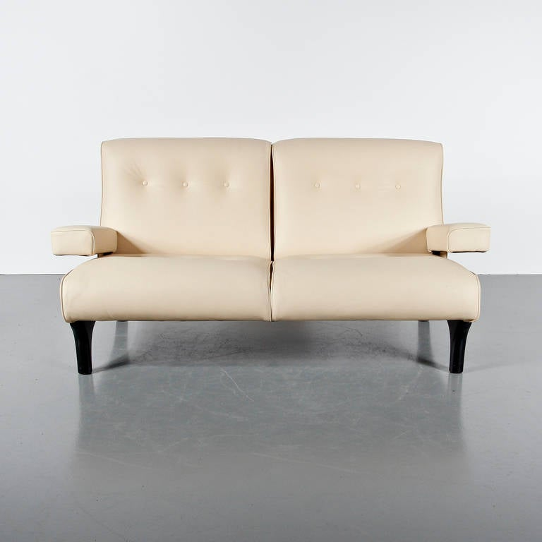 Eugenio Gerli Leather Sofa for Tecno, circa 1960 In Good Condition For Sale In Amsterdam, NL