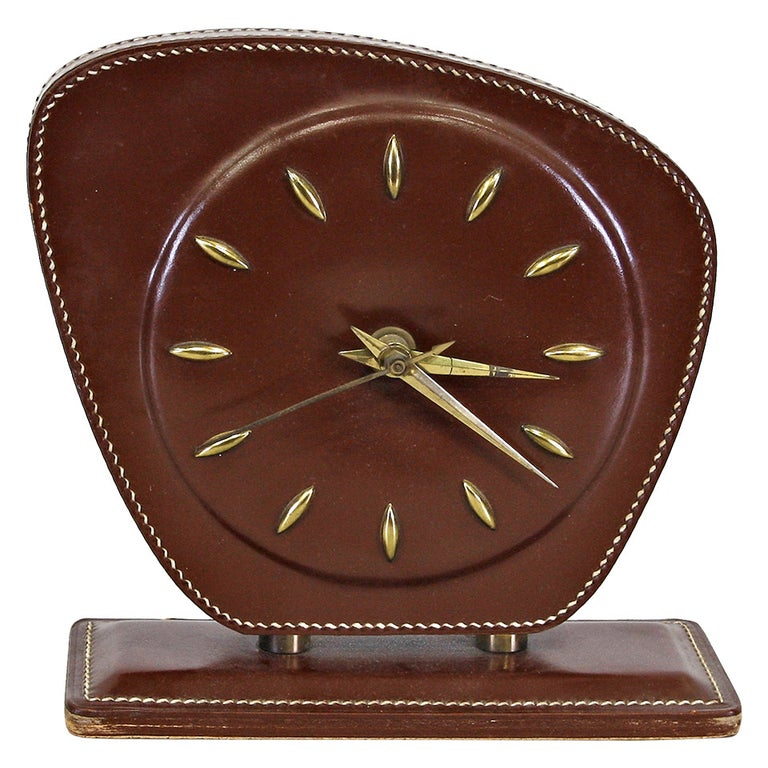 Jacques Adnet Leather Table Clock, circa 1950 For Sale