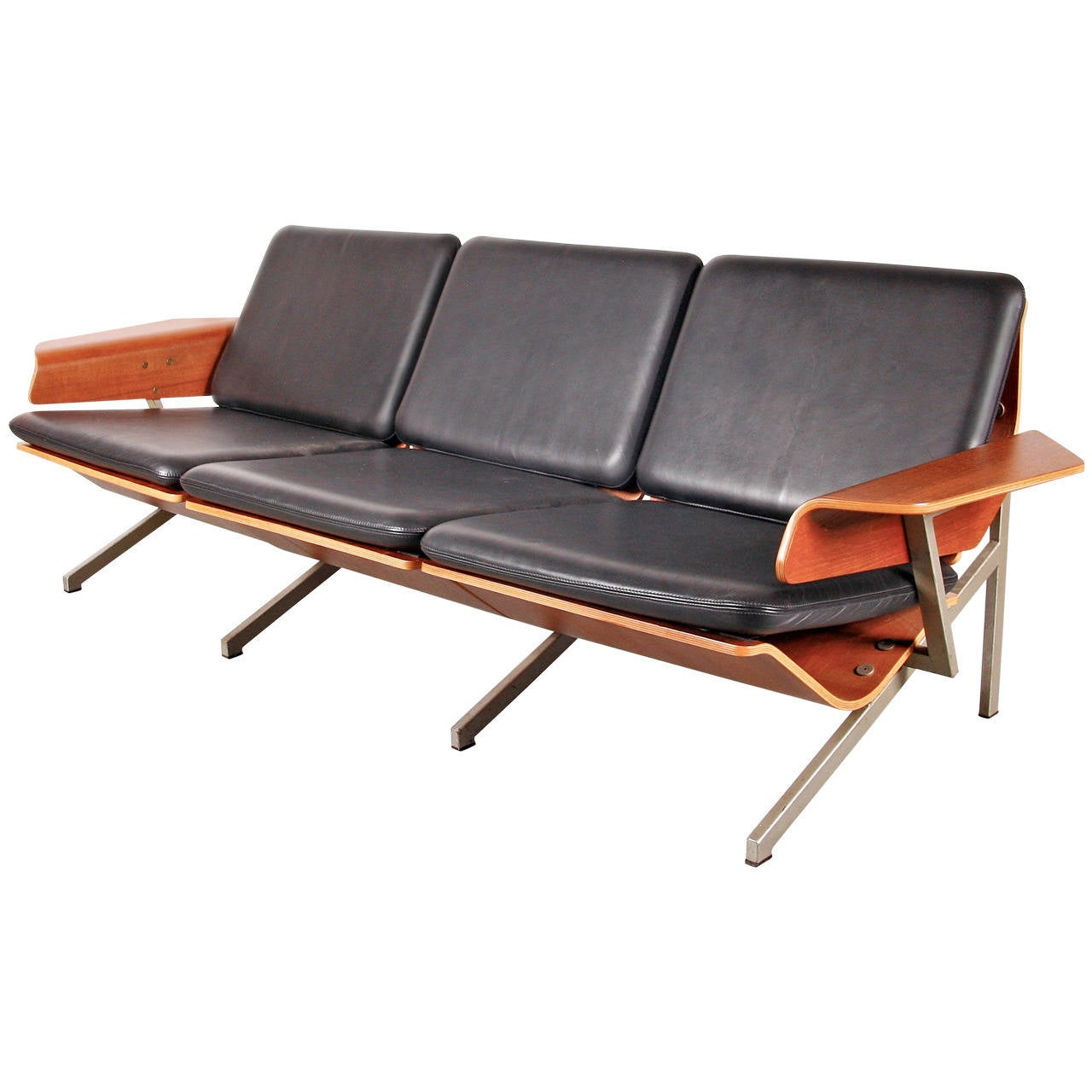 Rare Cornelis Zitman Three-Seat Leather Sofa, 1964 For Sale