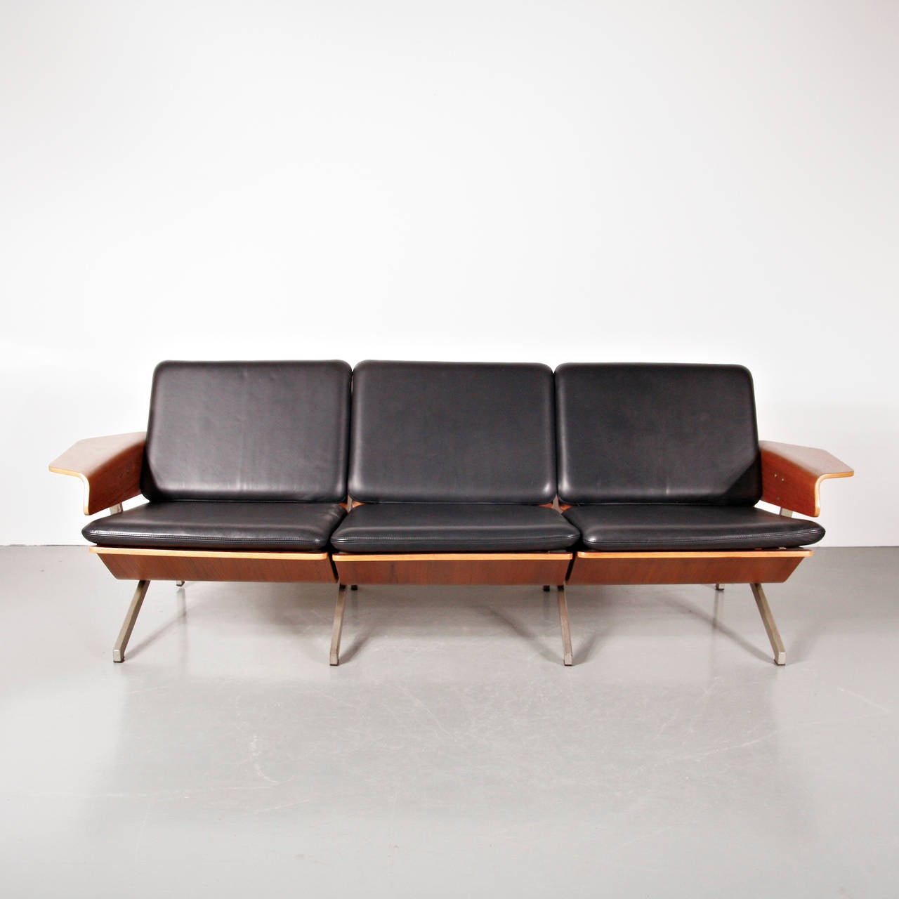 Dutch Rare Cornelis Zitman Three-Seat Leather Sofa, 1964 For Sale
