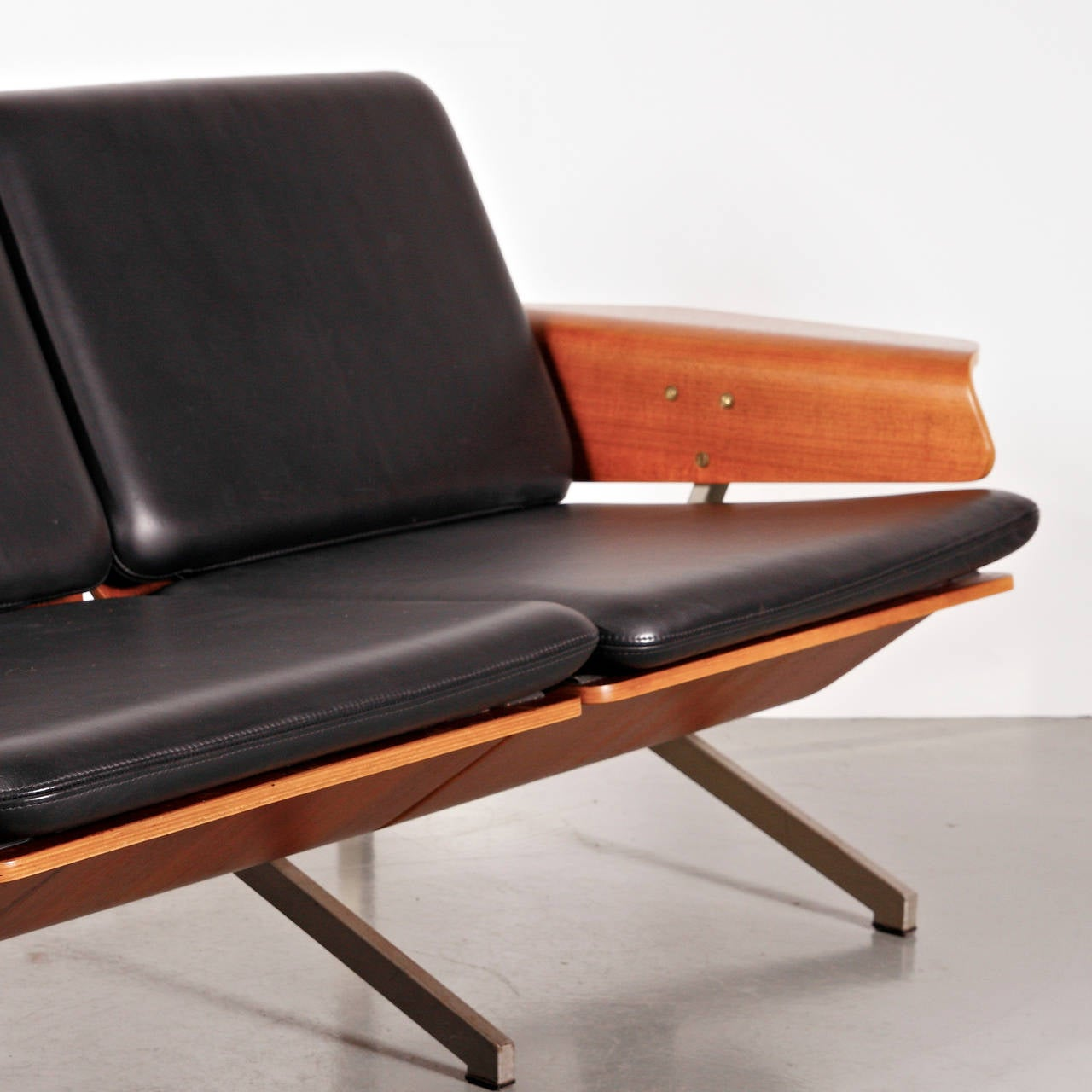 Rare Cornelis Zitman Three-Seat Leather Sofa, 1964 For Sale 2
