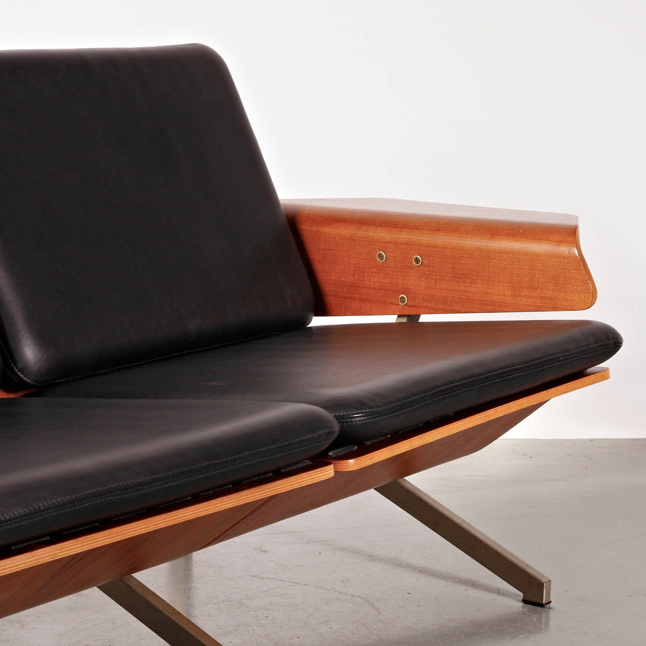 Mid-20th Century Rare Cornelis Zitman Two-Seat Leather Sofa, 1964 For Sale