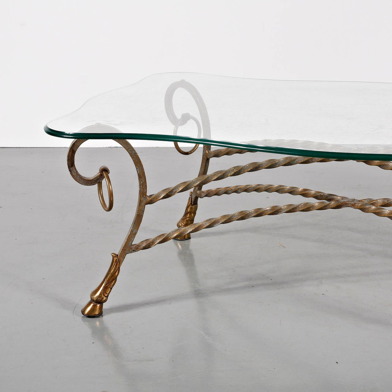 French Glass Coffee Table in the Manner of Maison Jansen For Sale
