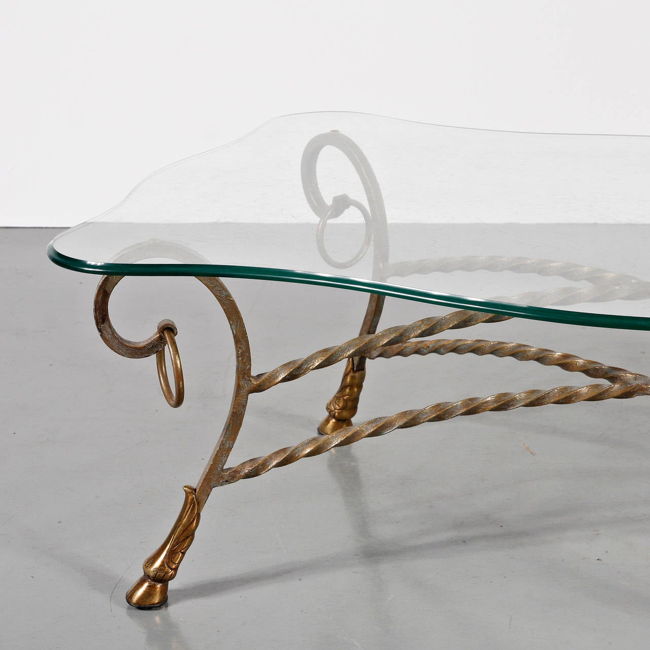 Glass Coffee Table in the Manner of Maison Jansen For Sale 3